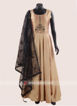 Floor Length Golden Gown with Net Dupatta