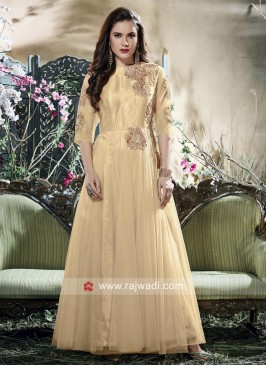 Floor Length Gown in Beige