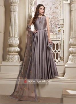 Floor Length Grey Anarkali Dress