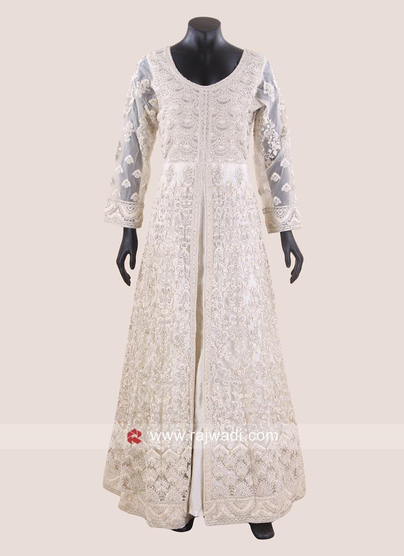 Floor Length Heavy Front Open Slit Wedding Gown