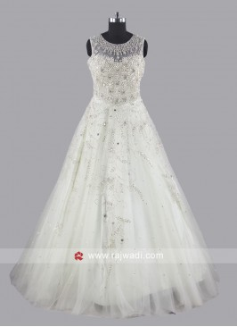 Floor Length Heavy Gown in Light Pista