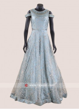 Floor Length Heavy Gown in Sky Blue