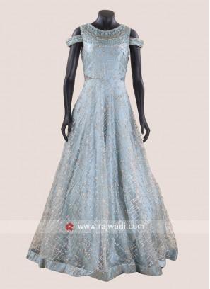 Floor Length Heavy Gown in Sky Blue