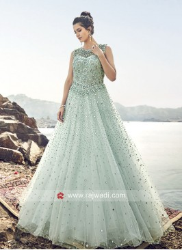 Floor Length Heavy Wedding Net Gown