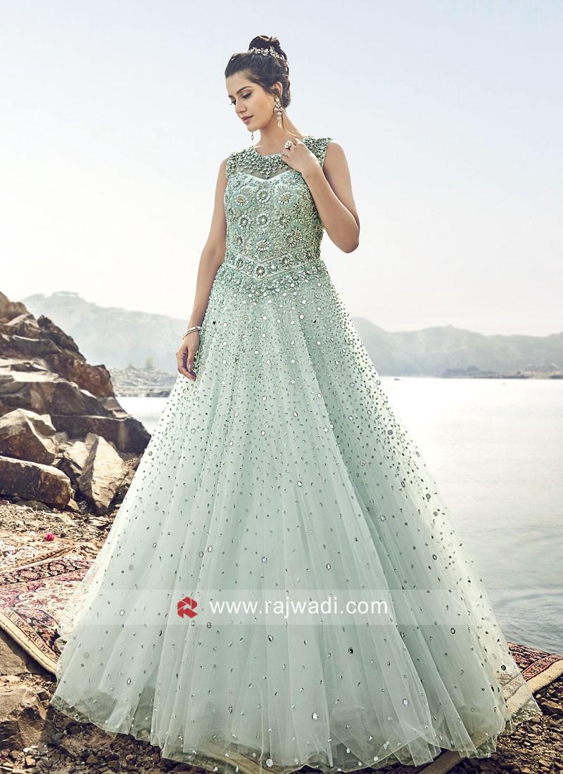 Floor Length Heavy Wedding Net Gown