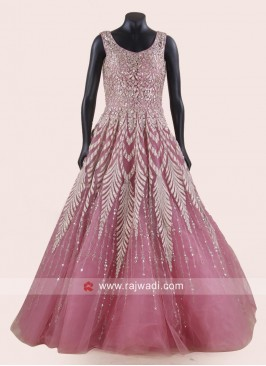 Floor Length Heavy Work Gown in Light Pink
