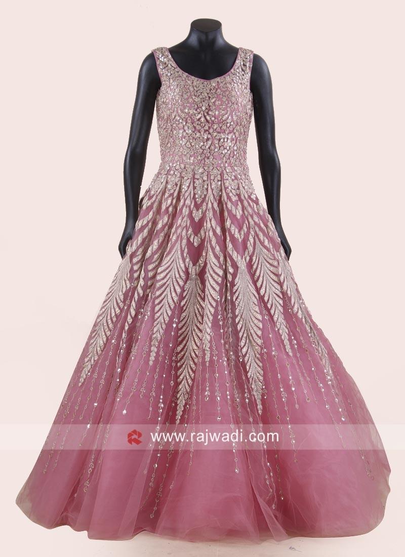 Floor Length Heavy Work Gown in Light Pink