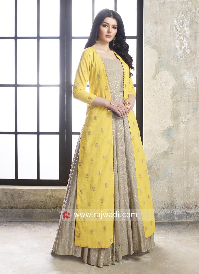 Floor Length Jacket Style Anarkali Suit