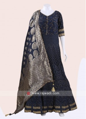 Floor Length Karachi Work Anarkali in Blue