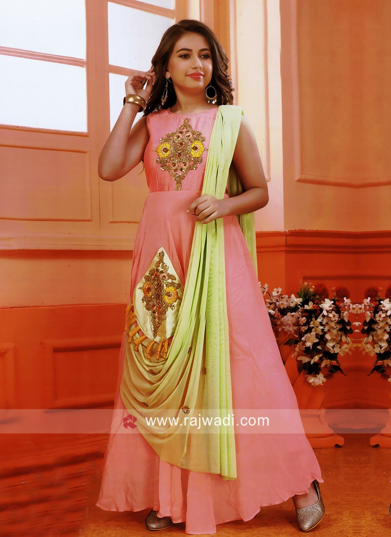 Floor Length Kids Gown with Embroidery Patch