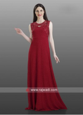 Floor Length Koti Style Kurti in Dark Red