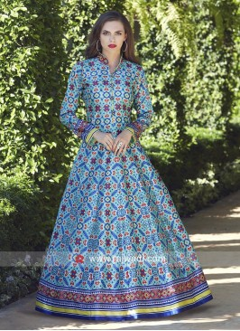 Floor Length Multi Printed Anarkali Suit