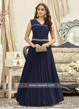 Floor Length Navy Shimmer Silk Gown