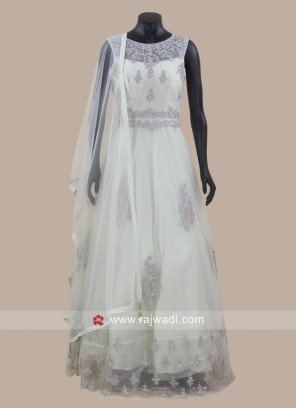 Floor Length Net Anarkali Suit with Dupatta