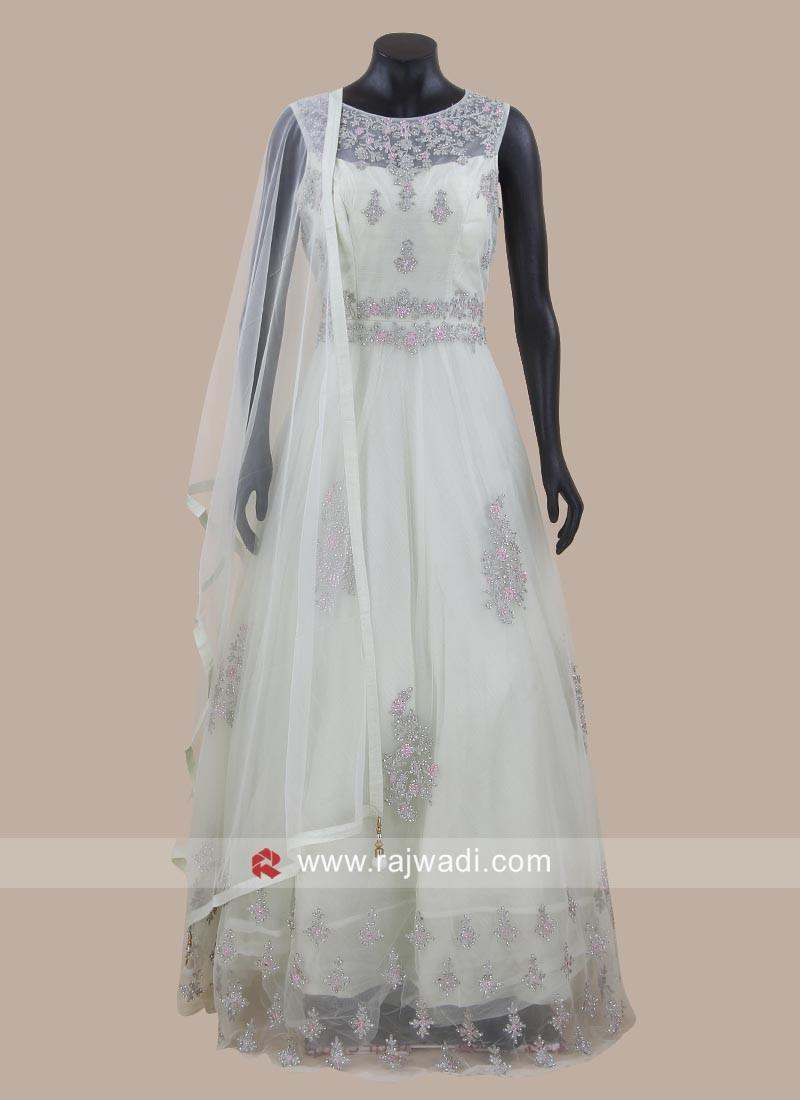Floor Length Net Anarkali Suit with Dupatta