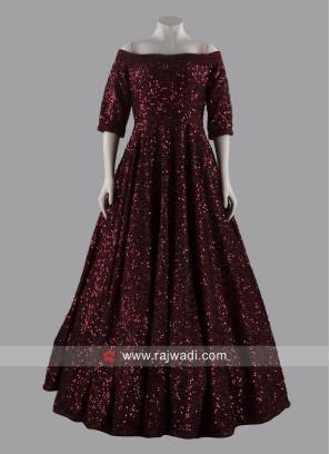 Floor Length Off Shoulder Gown