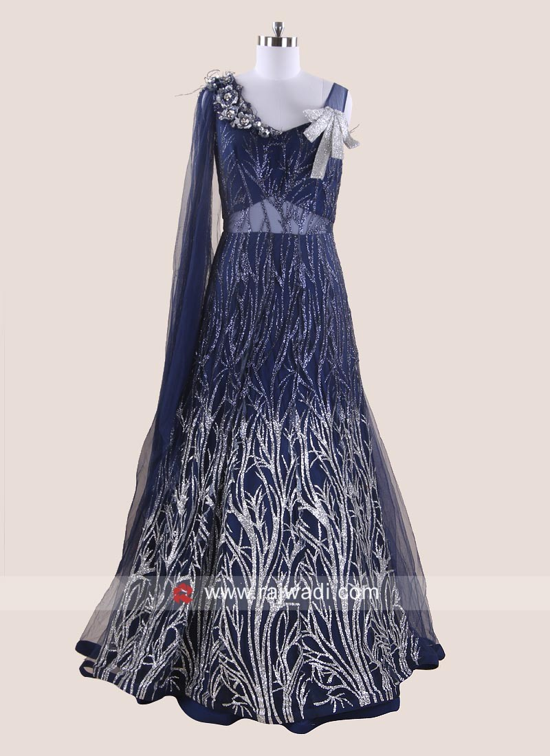 Floor Length Party Gown with Attached Dupatta