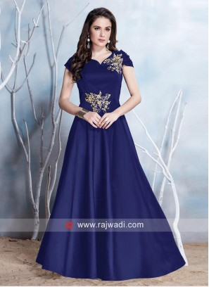 Floor Length Patch Work Gown in Blue