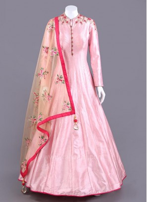 Floor Length Pink Anarkali Dress