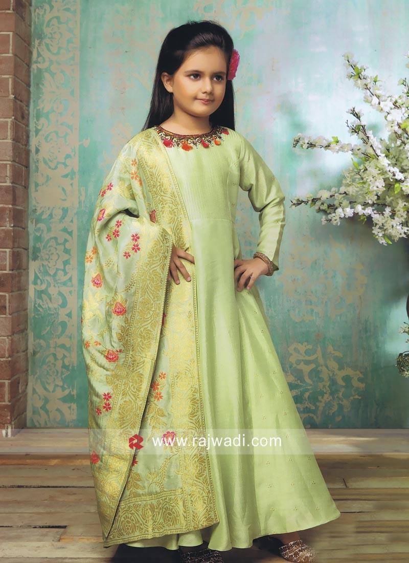 Floor Length Pista Green Girls Anarkali Suit