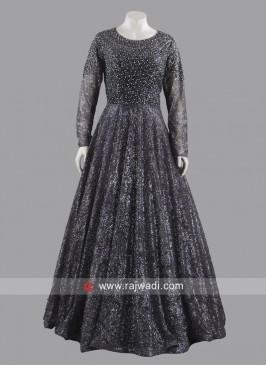 Floor Length Pleated Glitter Gown