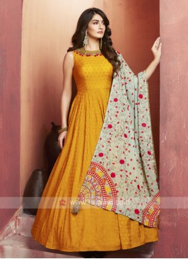 Floor Length Pleated Mustard Yellow Anarkali Suit