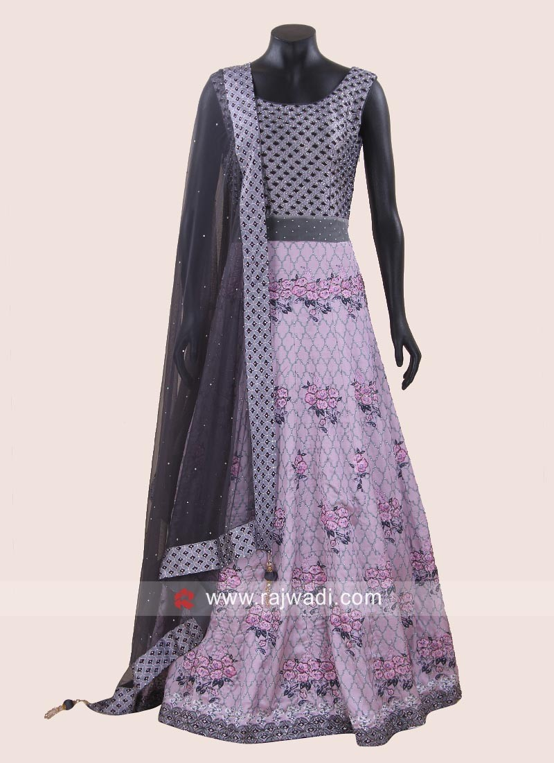 Floor Length Printed Anarkali Suit