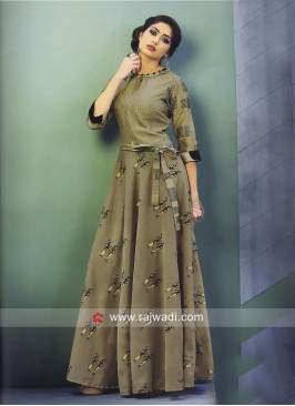 Floor Length Printed Cotton Silk Kurti