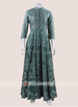 Floor Length Printed Gown