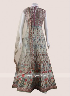Floor Length Printed Gown with Net Dupatta