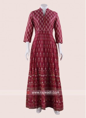 Floor Length Printed Summer Gown