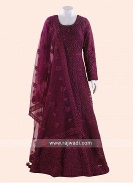 Floor Length Resham Work Anarkali Suit