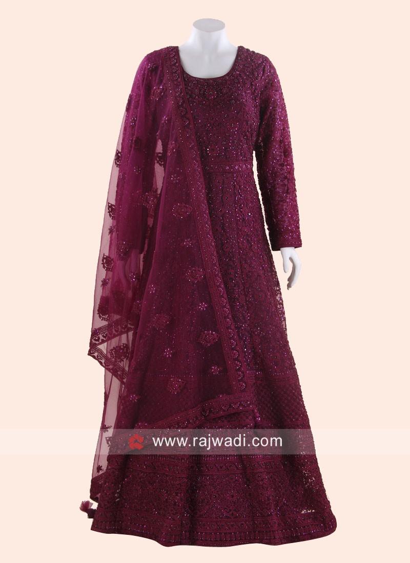 Floor Length Resham Work Anarkali Suit