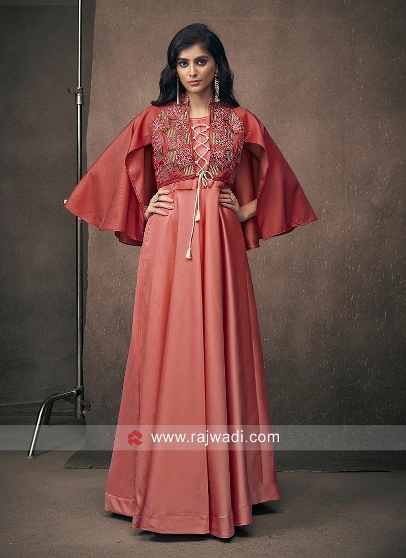 Floor Length Satin Silk Gown