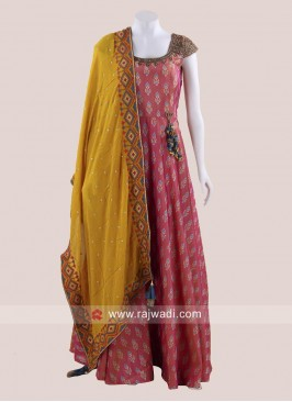 Floor Length Silk Anarkali Salwar Kameez