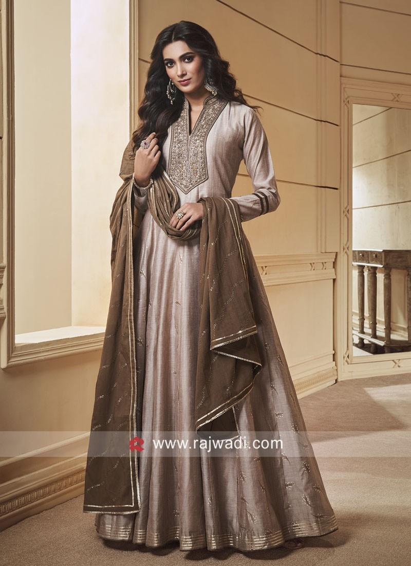 Floor Length Silk Anarkali Suit
