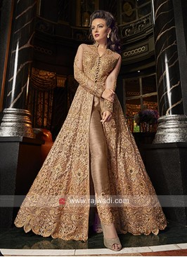 Floor Length Unstitched Salwar Suit in Net