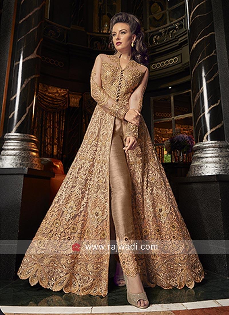 Floor Length Unstitched Salwar Suit in Net