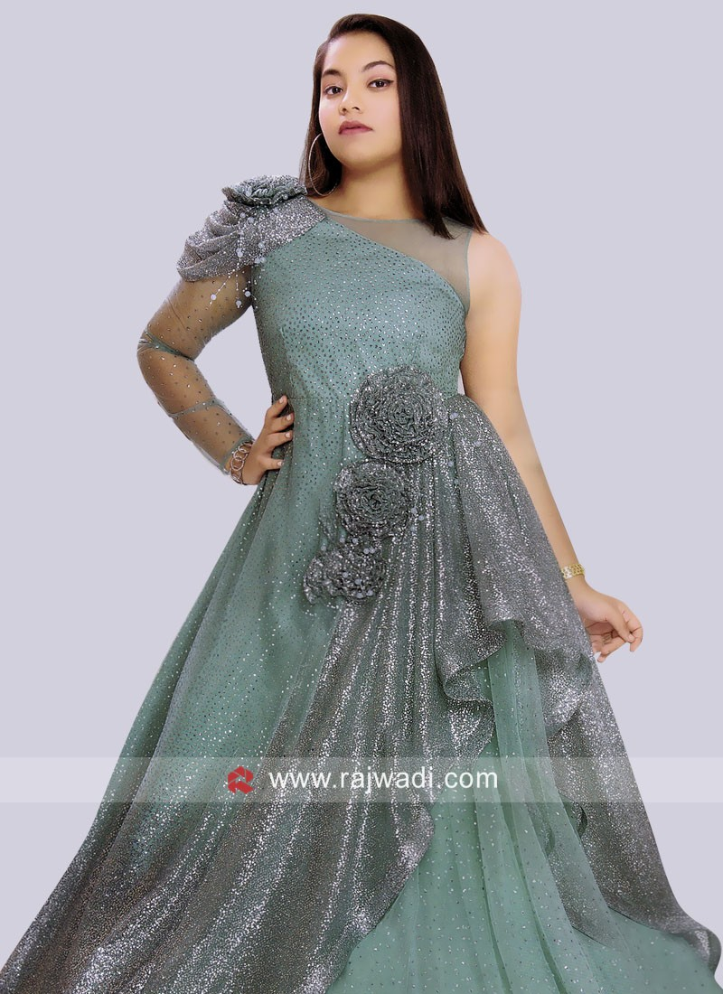 Floor Length Wedding Layered Gown for Girls