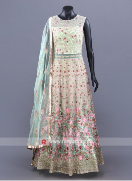 Floral Embellished Full Length A Line Anarkali Dress