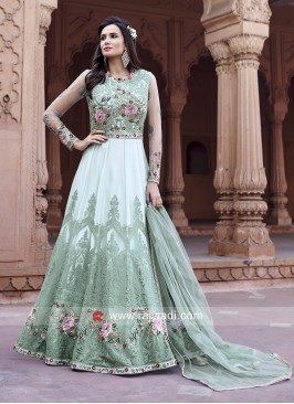 Floral Embroidered Anarkali Suit with Dupatta