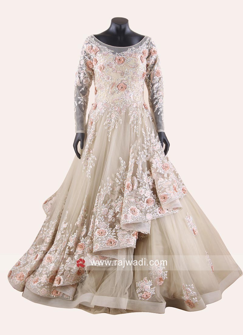Floral Embroidered Layered Flare Gown