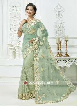 Floral Embroidered Net Saree