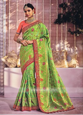 Floral Embroidered Saree with Tassels