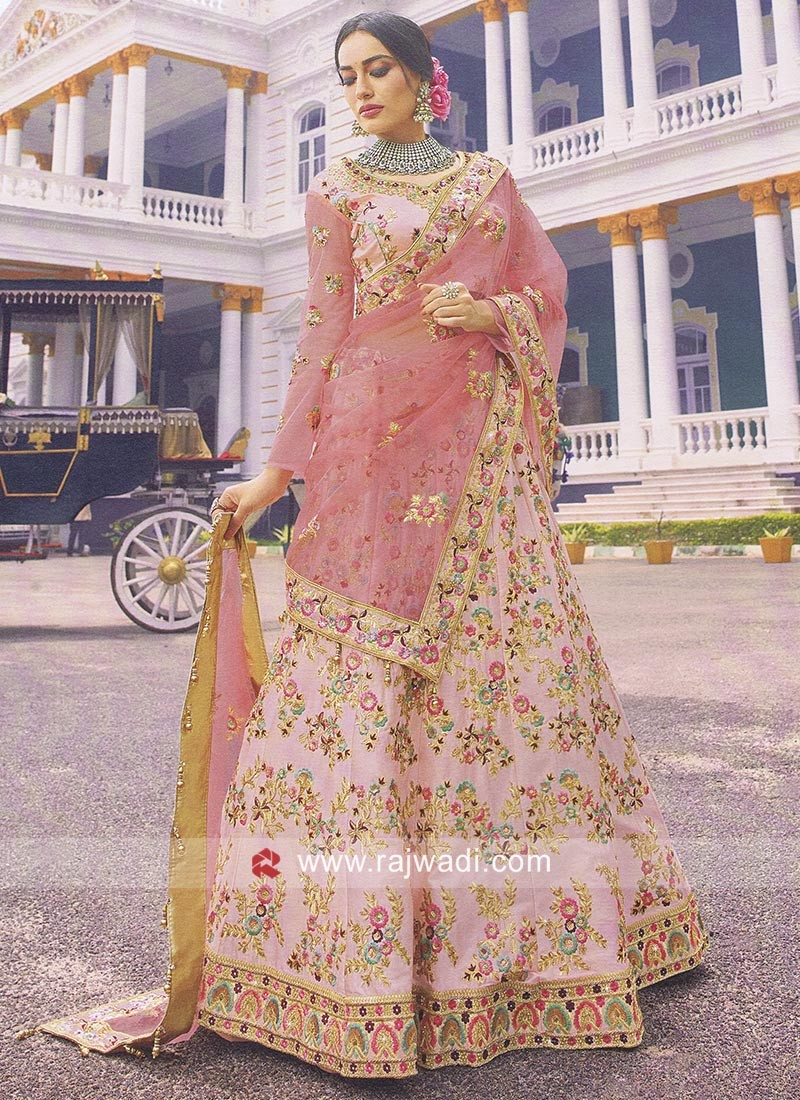 8756567fdf Floral Embroidered Satin Lehenga Choli. Hover to zoom