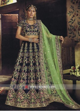 Floral Embroidered Velvet Lehenga Choli in Blue