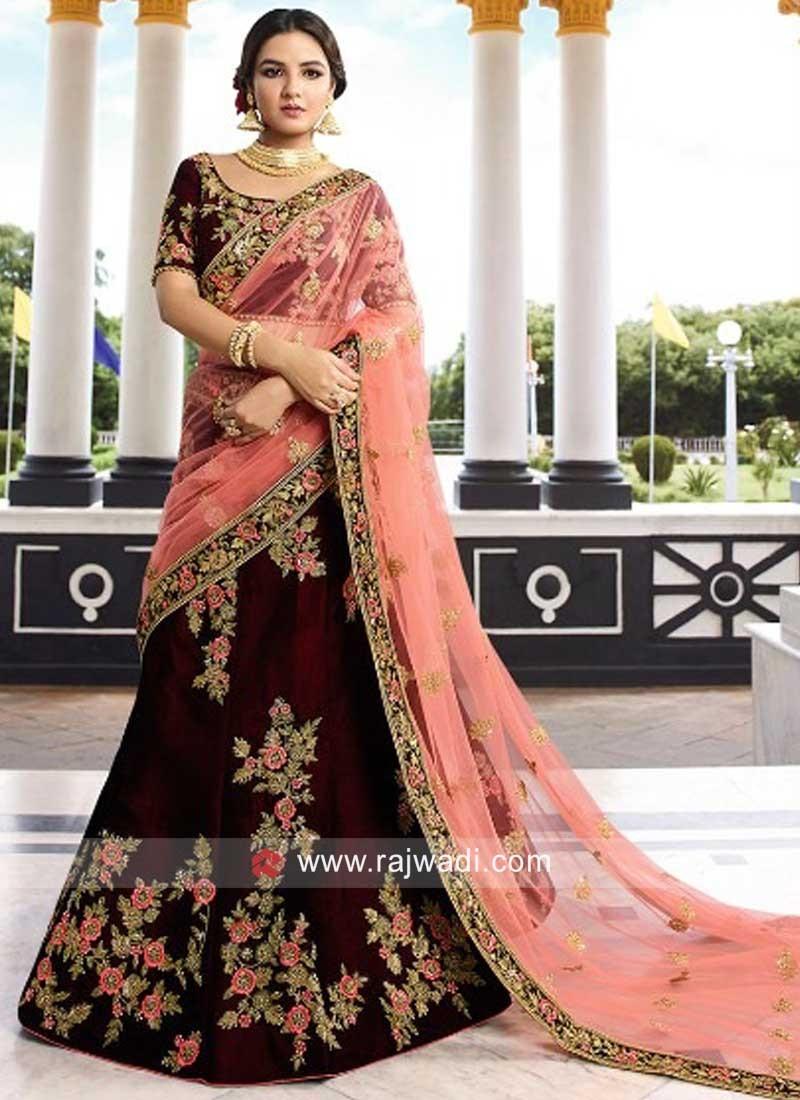 Floral Embroidered Wedding Lehenga in Velvet