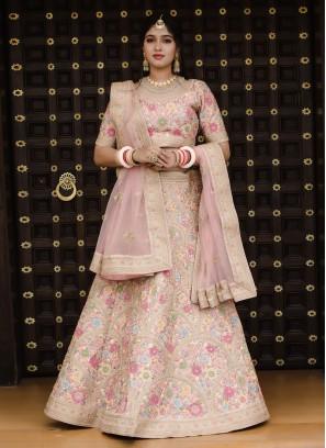 Floral Embroidery Pink Lehenga Choli