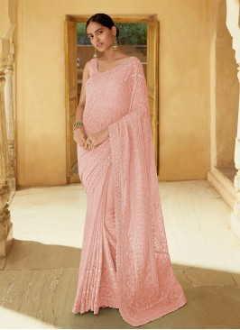 Floral Mirror Georgette Pink Classic Saree