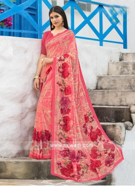 Floral Print Casual Saree